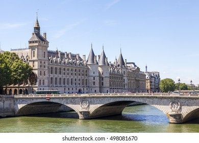 PARIS, FRANCE, on JULY 9, 2016. A view of Seine and Konserzhyeri's castle on the embankment