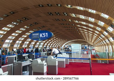 PARIS, FRANCE - on MAY 5, 2015. The international airport Charles de Gaulle, the hall of a departure in the terminal E.