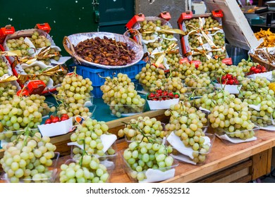 PARIS, FRANCE, on November 1, 2017. Various fruit are laid out on a show-window of the traditional market on Muftard Street