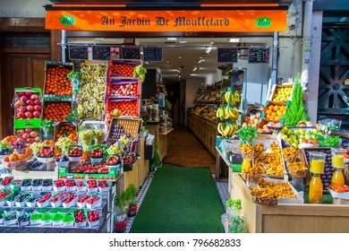PARIS, FRANCE, on November 1, 2017. Various vegetables and fruit are laid out on a show-window of the traditional market on Muftard Street