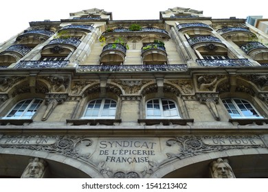 Paris, FRANCE on October 24, 2019 : The facade of the French grocery syndicate.