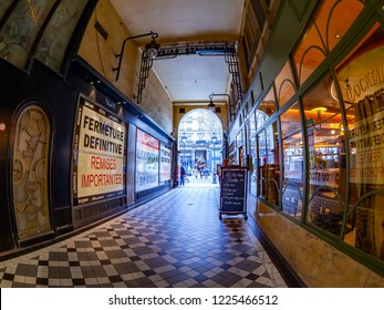 PARIS, FRANCE, on OCTOBER 26, 2018. Interior of a typical old Parisian passage, fisheye view