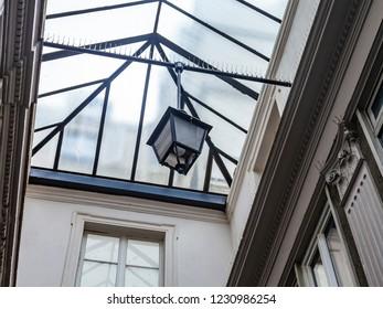 PARIS, FRANCE, on OCTOBER 26, 2018. Interior of an ancient Parisian passage. Transparent glass roof