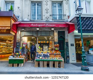PARIS, FRANCE, on OCTOBER 26, 2018. A facade of the traditional shop trading in vegetables and fruit. A picturesque show-window on the street