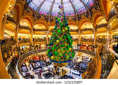 PARIS, FRANCE, on OCTOBER 26, 2018. An interior of the main trading floor of the Gallery shop (Lafayette Coupole) in New Year's furniture