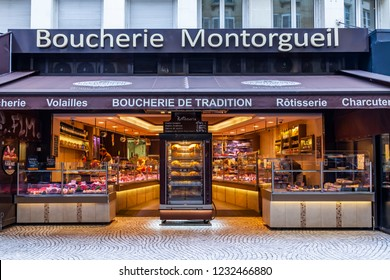 PARIS, FRANCE, on OCTOBER 26, 2018. A facade of the traditional shop trading in meat and meat delicacies. A picturesque show-window on the street