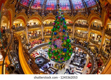 PARIS, FRANCE, on OCTOBER 26, 2018. The main trading floor of Galeries Lafayette shop in New Year's furniture. Fish-eye view