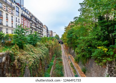 PARIS, FRANCE, on OCTOBER 26, 2018. The site of the abandoned ring railroad (fr. la petite ceinture)