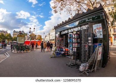 PARIS, FRANCE, on OCTOBER 26, 2018. Typical urban view. A stall selling the press and souvenirs. Fish-eye view