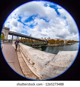 PARIS, FRANCE, on OCTOBER 26, 2018. City landscape, view of Bir-Hakeym Bridge (fr. Pont de Bir-Hakeim) & Fish-eye view