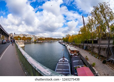 PARIS, FRANCE, on OCTOBER 26, 2018. City landscape, view of Bir-Hakeym Bridge (fr. Pont de Bir-Hakeim), Fish-eye view