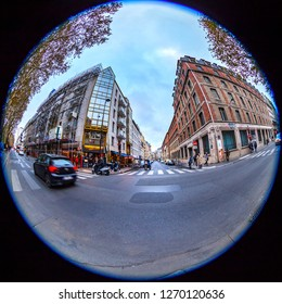 PARIS, FRANCE, on OCTOBER 26, 2018. The typical city street with historical building. Fish-eye view