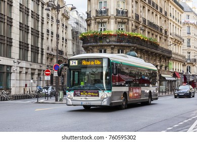 PARIS, FRANCE, on October 27, 2017. The bus goes on the city street