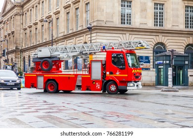 PARIS, FRANCE, on October 27, 2017. The fire truck goes on the city street