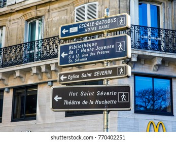 PARIS, FRANCE, on October 27, 2017. Elements of city navigation specify the directions to various sights