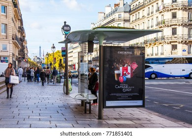 PARIS, FRANCE, on October 27, 2017. The bus-stop is located on the street in the downtown