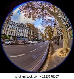 PARIS, FRANCE, on OCTOBER 29, 2018. An urban view, fisheye view