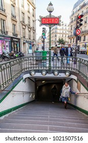 PARIS, FRANCE, on October 30, 2017. The traditional plate indicates an entrance on the metro station