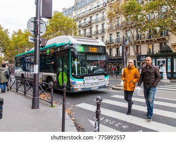PARIS, FRANCE, on October 30, 2017. The bus has stopped on the street in the downtown