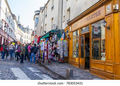 PARIS, FRANCE, on October 30, 2017. Autumn city landscape. Stylish beautiful houses make an architectural complex of the street at the bottom of Montmartre.