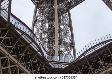 PARIS, FRANCE, on SEPTEMBER 1, 2015. Fragment of a design of the Eiffel Tower. The Eiffel Tower is one of the most visited and recognizable sights of the world