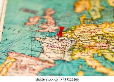Paris France Pinned On Vintage Map Stock Photo (Edit Now) 499116169 ...