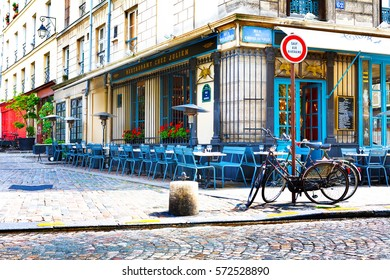 Paris, France, Restaurant Chez Julien, 12 06 2012 - empty tables and chairs on the street in the center of the city