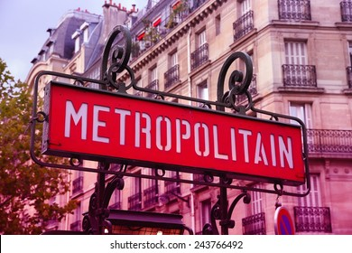 Paris, France - retro metro station sign. Subway train entrance. Filtered style colors.
