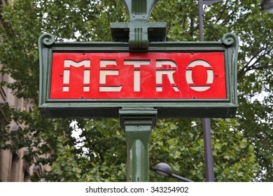 Paris, France - retro metro station sign. Subway train entrance.