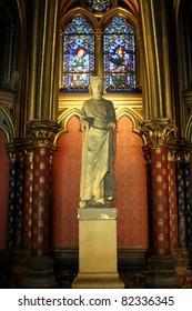 Paris, France, Saint Chapel, the statue of Luigi IX, King of France