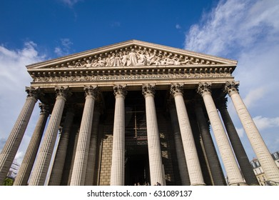 PARIS, FRANCE - SEP 11: The famous La Madeleine, a Roman Catholic church on September 11 2015 in Paris.The Madeleine Church was designed in its present form as a temple to the glory of Napoleon's army