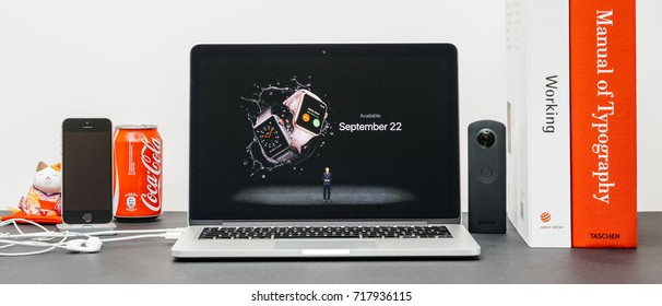 PARIS, FRANCE - SEP 13, 2017: Minimalist creative room  Safari Browser open on MacBook Pro laptop  Apple Keynote website - Apple COO Jeff Williams presenting the Apple Watch 3 availability to order