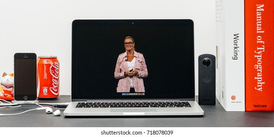 PARIS, FRANCE - SEP 13, 2017: Minimalist creative room with Safari Browser open on MacBook Pro laptop showcasing Apple Keynote website Apple retail chief Angela Ahrendts for a retail-focused update.