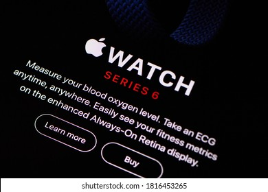 Paris, France - Sep 16, 2020: iPad Pro tablet latest Apple Computers news on the website after its annual hardware event, showing off the latest Watch Series 6