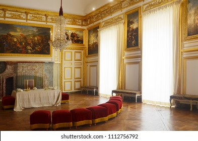 Paris, France - SEP 18, 2017 : Palace of Versailles is a former royal residence, a history museum with collection of paintings and sculptures, a magnificent example of French Baroque architecture.