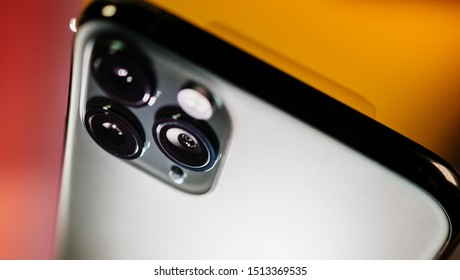 Paris, France - Sep 20, 2019: Close-up detail of the ultra-wide camera close-up macro details of new latest Apple Computers iPhone 11 Pro and 11 Pro Max smartphone triple-lens camera and new