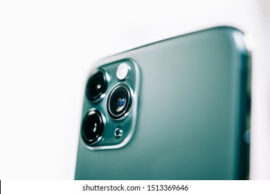 Paris, France - Sep 20, 2019: Side view on the wide objective close-up macro details of new latest Apple Computers iPhone 11 Pro and 11 Pro Max smartphone triple-lens camera Ultra-Wide, Wide and