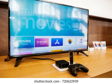 PARIS, FRANCE - SEP 22, 2017: New Apple TV goes on sale today in Apple Store with 4k screen shoping the Apple TV 4k display