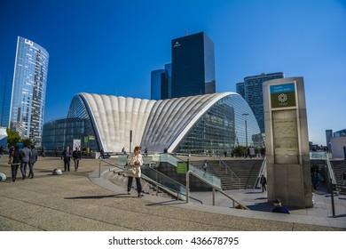 PARIS, FRANCE - SEP 25, 2015 : La Defense is a major business district of the Paris Metropolitan Area.
