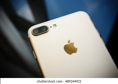 PARIS, FRANCE - SEP 26, 2016: New Apple iPhone 7 Plus unboxing and testing - double zoom camera with high performance sensor. New iPhone7 is one of the best waterproof smart phone in the world