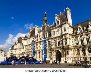PARIS, FRANCE - SEP 28, 2018: The Hotel de Ville during the Ryder Cup Golf Championship final tournament.