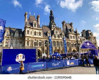 PARIS, FRANCE - SEP 28, 2018: The Hotel de Ville during the Ryder Cup Golf Championship final tournament.