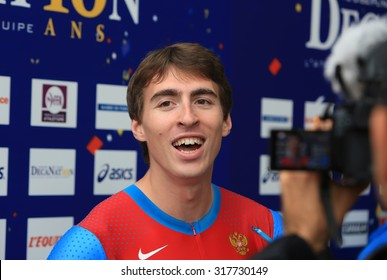 PARIS, FRANCE - SEP.13: Sergey Shubenkov winner of 110 m. hurdles on DecaNation International Outdoor Games on September 13, 2015 in Paris, France.Russian athlete,World champion 2015,European champion