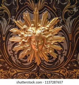 Paris / France - Sept. 11, 2017: Sun King Insignia on Louis XIV desk