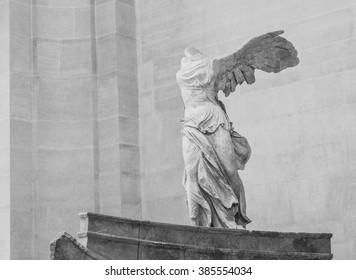 Paris, France Sept 2015 : Winged Victory of Samothrace classical greek statue of Nike in Louvre Museum, Paris, France