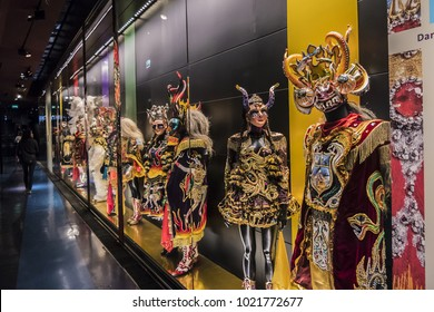 PARIS, FRANCE - SEPT 3, 2017: Fragment of exposition in Musee du Quai Branly. Museum featuring indigenous primitive art and cultures of Africa, Asia, Oceania and Americas: masks, sculptures, costumes.