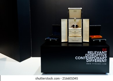 PARIS, FRANCE - SEPT; 5, 2014: A beautiful box for spirit bottles is on display at Maison et Objet, the French leading professional trade show for home fashion and design.