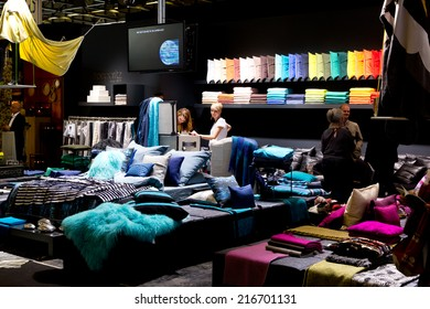 PARIS, FRANCE - SEPT; 5, 2014: Color cushions are on display at Maison et Objet, the French leading professional trade show for home fashion and design.
