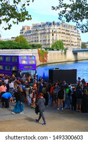 Paris, France. September 01. 2019: View of the knight bus, from the movie Harry Potter and the prisoner of Azkaban. Reproduction that welcomes thousands of fans to visit.