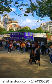Paris, France. September 01. 2019: View of the knight bus, from the movie Harry Potter and the prisoner of Azkaban. Reproduction that welcomes thousands of fans to visit. Cosplay in foreground.